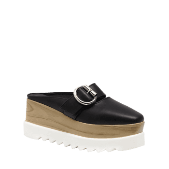 Square Toe Platform Buckle Strap Slippers - BLACK 37