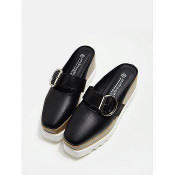 Square Toe Platform Buckle Strap Slippers - Noir 37