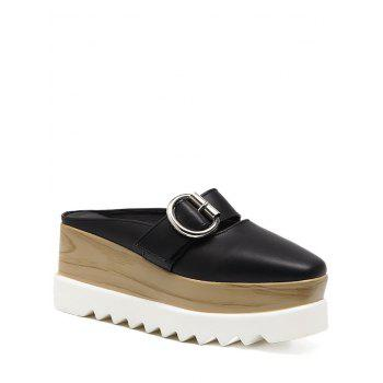 Square Toe Platform Buckle Strap Slippers