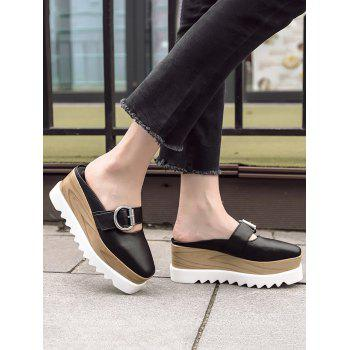 Square Toe Platform Buckle Strap Slippers - BLACK 39