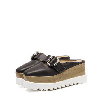 Square Toe Platform Buckle Strap Slippers - DEEP BROWN 39