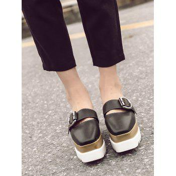 Square Toe Platform Buckle Strap Slippers - 38 38