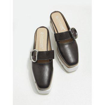 Square Toe Platform Buckle Strap Slippers - DEEP BROWN 38