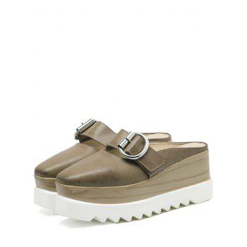 Square Toe Platform Buckle Strap Slippers - 37 37