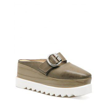Square Toe Platform Buckle Strap Slippers - KHAKI 37