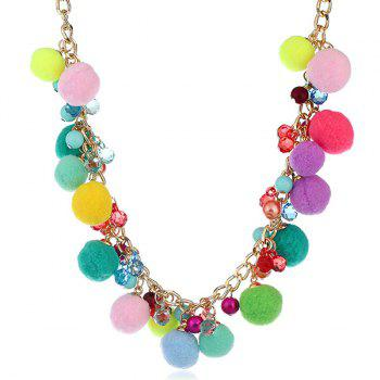Small Pompons Beaded Pendant Fake Collar Necklace