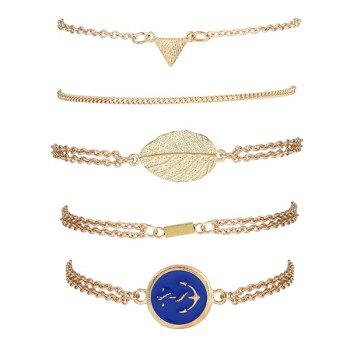 Alloy Strand Bracelets with Boat Anchor Badge - GOLDEN GOLDEN