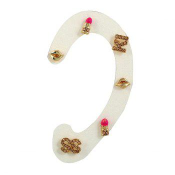 Three Pairs of Lip Letter S Shape Earrings