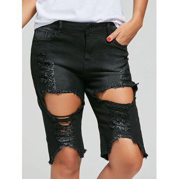 Distressed Denim Frayed Hem Bermuda Shorts
