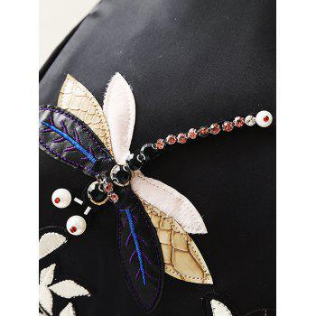 Dragonfly and Flower Applique Backapck - BLACK
