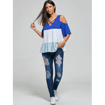 Mid Rise Skinny Ripped Jeans - BLUE S