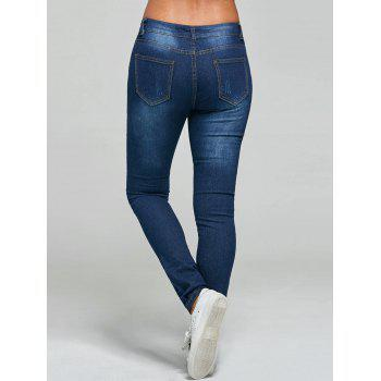 Mid Rise Skinny Ripped Jeans - BLUE BLUE