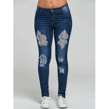 Mid Rise Skinny Ripped Jeans