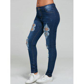 Mid Rise Skinny Ripped Jeans - BLUE 2XL