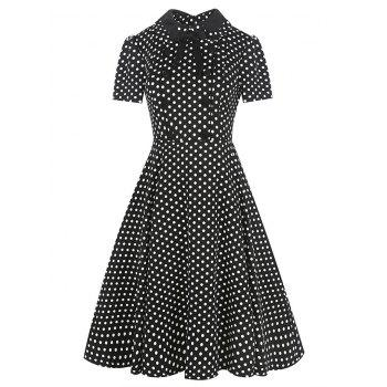 Vintage Bowknot Buttons Embellished Dress