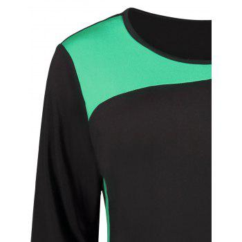 Two Tone Color Block Long Sleeve Plus Size Dress - GREEN GREEN