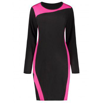 Two Tone Color Block Long Sleeve Plus Size Dress
