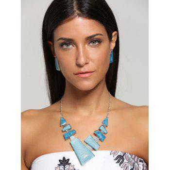 Faux Gemstone Geometric Statement Necklace and Earrings