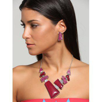 Faux Gemstone Geometric Statement Necklace and Earrings - TUTTI FRUTTI TUTTI FRUTTI