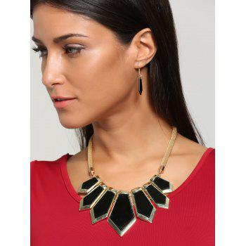 Plated Geometrical Statement Necklace and Earrings - BLACK BLACK