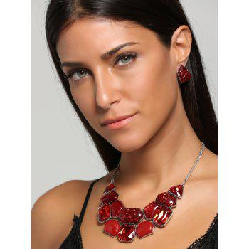 Faux Gemstone Statement Boho Necklace and Earrings - RED RED