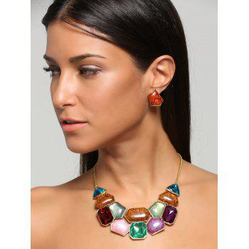 Faux Gemstone Statement Boho Necklace and Earrings -  COLORFUL