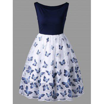Sleeveless Butterfly Print Swing Dress