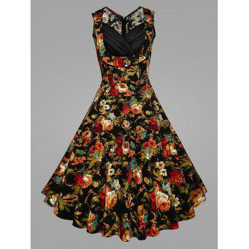 Plus Size Pleated Floral Vintage Swing Dress - BLACK BLACK