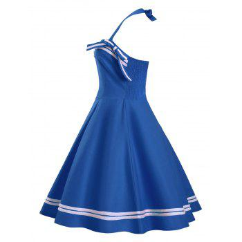 Bouton Embellished Plus Size Halter Pin Up Dress - Bleu 2XL