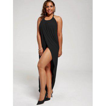Plus Size Halter High Slit Dress - BLACK BLACK