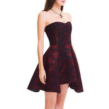 Strapless Floral Lace-up Vintage Corset Dress - RED RED
