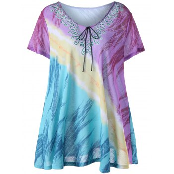 Plus Size Printed Tunic Tee - COLORMIX COLORMIX