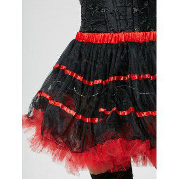 Color Block Tier Light Up Tutu Cosplay Skirt - RED ONE SIZE