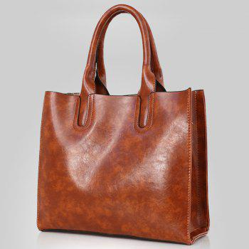 3 Pieces Faux Leather Tote Bag Set - BROWN
