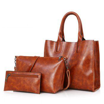 3 Pieces Faux Leather Tote Bag Set - BROWN BROWN