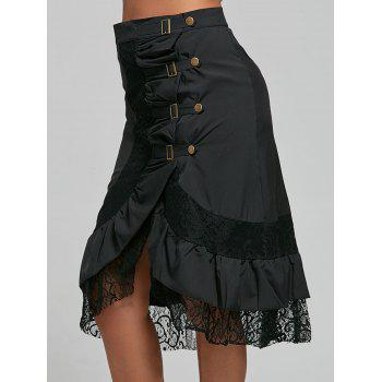 Punk Style Riveted Black Laced Skirt For Women - BLACK BLACK