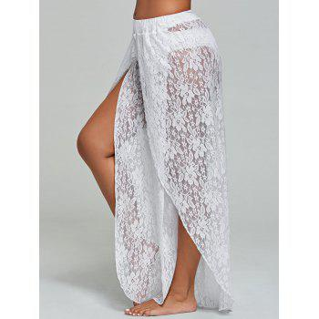 Lace Wide Leg Tulip Swim Cover Up Pants - WHITE WHITE