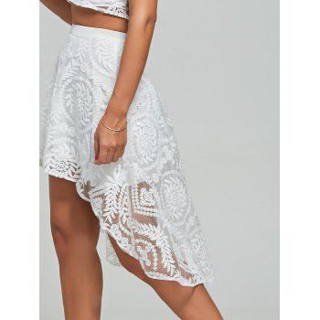 Lace Embroidered Top+High Low Skirt - WHITE WHITE