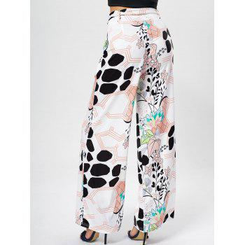 Printed Belted Wide Leg Pants - PINK XL