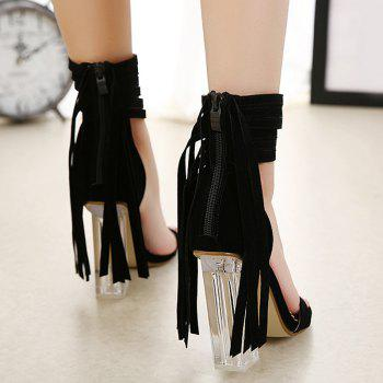 Clear Heel Fringe Ankle Wrap Sandals - BLACK BLACK