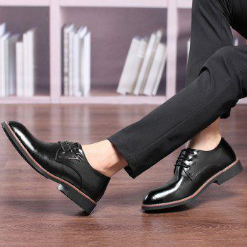 Metal Embellishment Faux Leather Formal Shoes - BLACK BLACK