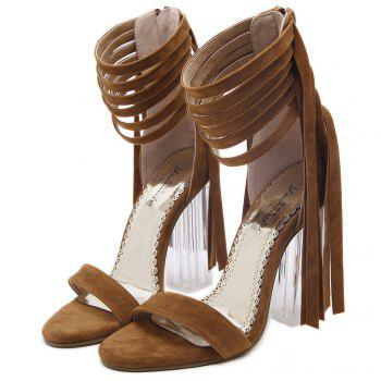 Clear Heel Fringe Ankle Wrap Sandals - BROWN BROWN