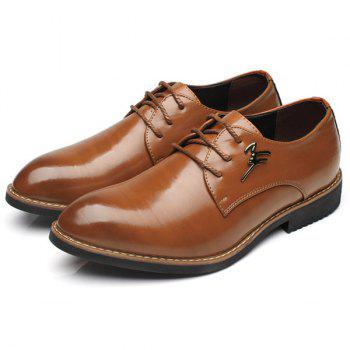Metal Embellishment Faux Leather Formal Shoes - BROWN BROWN
