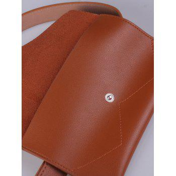 Portable Pin Buckle Faux Leather Waist Belt Bag - CHOCOLATE