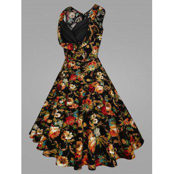 Plus Size Pleated Floral Vintage Swing Dress - BLACK 2XL