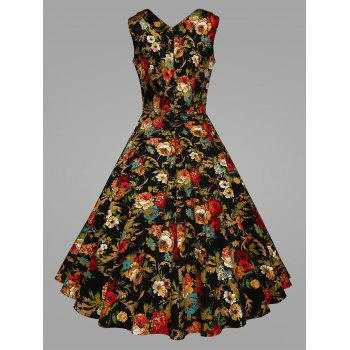 Plus Size Pleated Floral Vintage Swing Dress - BLACK XL