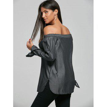 Off The Shoulder Self-tie Long Sleeve Top - BLACK XL