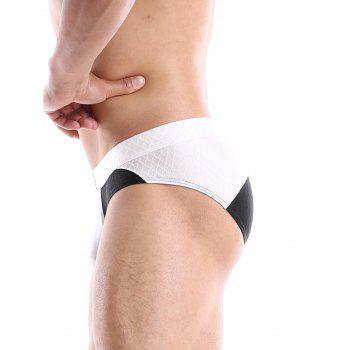 Fish Scale Pattern Two Tone Panel Briefs - WHITE WHITE