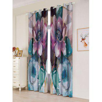 2Pcs Floral Blackout Window Curtain For Bedroom - COLORMIX W53 INCH * L96.5 INCH