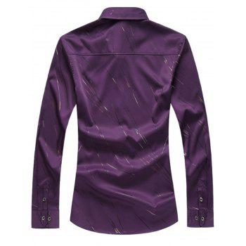 Long Sleeve Button Up Casual Shirt - LIGHT PURPLE M